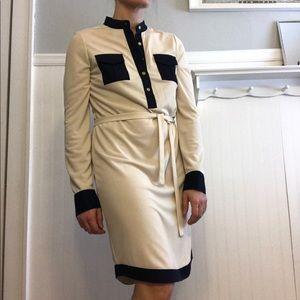 Tory Burch shirt dress in cream with Navy trim